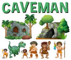 Ensemble de personnages et de grottes pour homme des cavernes vecteur