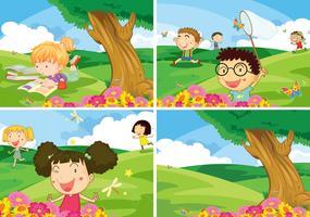 Enfants et parc vecteur