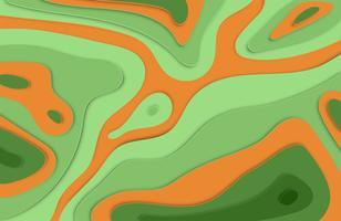 Papier découpé en relief 3D fond coloré avec des ombres pour la publicité, illustration vectorielle
