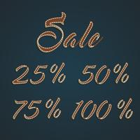 Jeu de pourcentage de cuir réaliste, illustration vectorielle vecteur