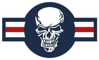 Emblème d'avion militaire avec illustration vectorielle de crâne rondel couleur vecteur