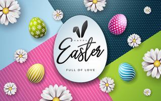 Illustration vectorielle de joyeuses fêtes de Pâques avec oeuf peint et fleur de printemps