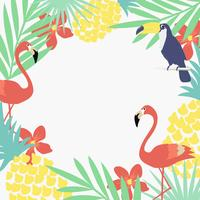 Jungle tropicale feuilles fond avec flamants roses et toucans