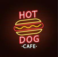 Enseigne au néon de burger café. vecteur
