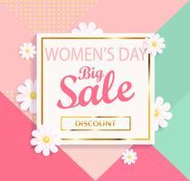 Fond géométrique de la grande vente de jour des femmes. vecteur