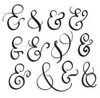 vecteur défini signe Vintage Et sur fond blanc. Illustration de lettrage de calligraphie EPS10