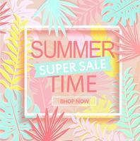 Bannière de super vente heure d'été.