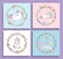 Jeu de cartes de licornes magiques avec des cadres de cercle.