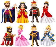 Différents personnages de roi et de reine vecteur