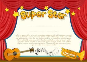 Certificat avec instrument de musique sur scène vecteur