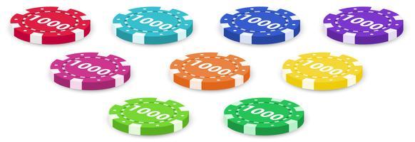 Neuf jetons de poker vecteur