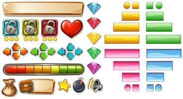 Éléments de jeu avec boutons et barres