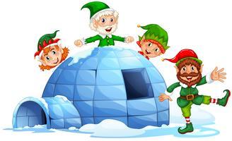 Igloo et elfes vecteur