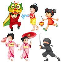 Enfants en costume de différents pays vecteur