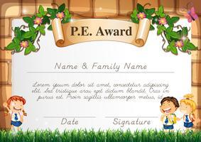 Modèle de certificat pour la récompense PE