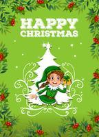 Joyeux Noël avec elfe et cadeau vecteur