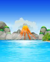 Éruption du volcan au bord du lac