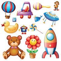 Ensemble de jouets différents vecteur