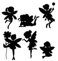 Jeu de silhouette de fées vecteur