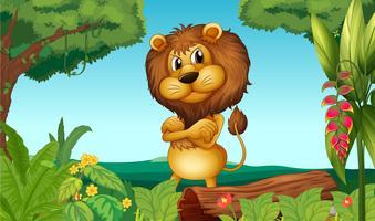 Un lion debout dans les bois
