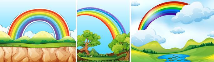 Scènes de la nature avec arc-en-ciel vecteur