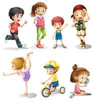 Les enfants dans de nombreuses actions