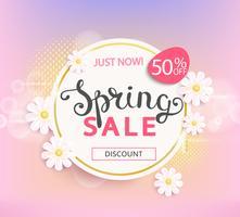 Étiquette de vente de printemps, 50% de réduction. vecteur