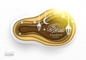 Art de papier de fond de Ramadan Kareem ou papier coupé le style avec la lanterne de Fanoos, le croissant de lune et le fond de mosquée. Pour les bannières Web, cartes de vœux et modèles de promotion dans Ramadan Holidays 2019.