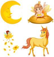 Personnages de contes de fées et lune vecteur