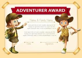 Récompense d'aventure avec fond de deux enfants