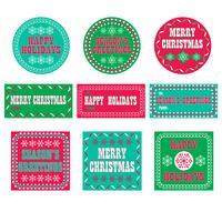 étiquettes de cadeau de vacances rétro
