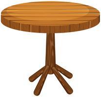 Table ronde en bois sur fond blanc vecteur