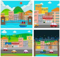 Quatre scènes de la ville vecteur