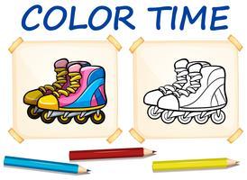 Modèle de coloration avec patins à roulettes vecteur