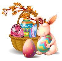 Un panier rempli d'œufs et d'un lapin