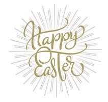 vecteur de texte joyeux Pâques sur fond blanc. Calligraphie lettrage Illustration vectorielle EPS10