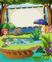 Modèle de bannière avec des enfants au bord de l'étang