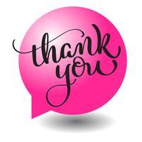 Texte de remerciement avec cadre rond en forme de boule rouge à l'arrière-plan. Lettrage de calligraphie dessiné à la main illustration vectorielle EPS10