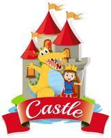 Prince et dragon au château vecteur