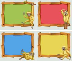 Conception de bannière avec des gibbons blancs vecteur