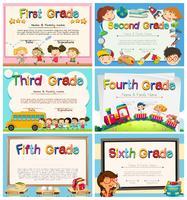 Certificats pour les enfants à l'école primaire vecteur