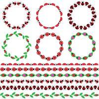 Cadres de cercle de coccinelle et motifs de bordure vecteur