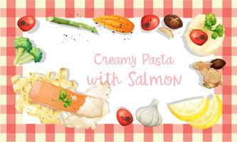 Modèle de sauce à la crème de saumon et de pâtes vecteur