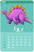 Modèle de calendrier pour juillet avec stegosaurus