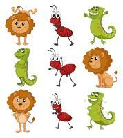 Un lion, un caméléon et une fourmi vecteur