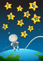 Nombres sur les étoiles et astronaunt volant