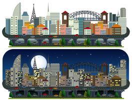 Un ensemble de ville moderne jour et nuit