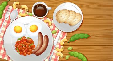 Repas santé vu de dessus vecteur