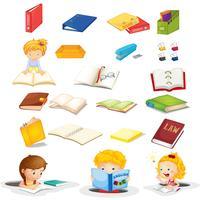 Les élèves et leurs fournitures scolaires vecteur