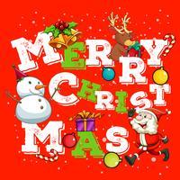 Carte de Noël avec Père Noël et bonhomme de neige